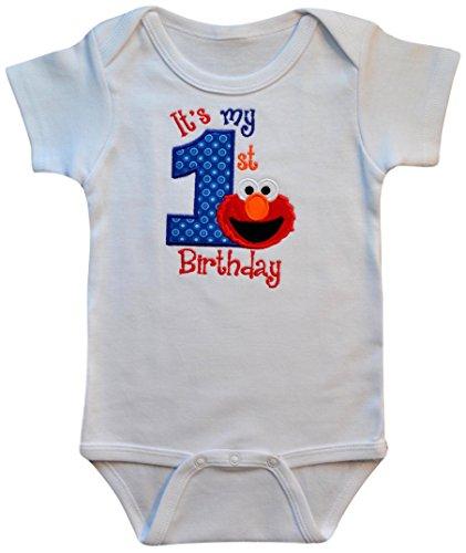 Embroidered ELMO My First Birthday Year 1 Onesie Bodysuit Creeper Handmade Keepsake (18 Months Short Sleeve) by Funny Girl Designs