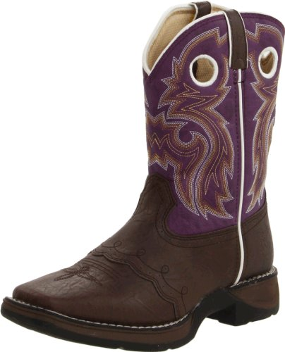 Durango Kids BT386 Lil' 8 Inch Saddle,Dark Brown/Purple,5 - Durango Girls Cowboy Boots