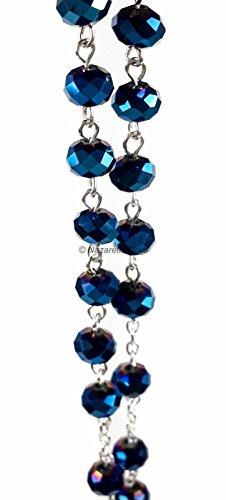 Nazareth Store Deep Blue Crystal Beads Rosary Catholic Necklace Holy Soil Medal Cross Crucifix Velvet Bag