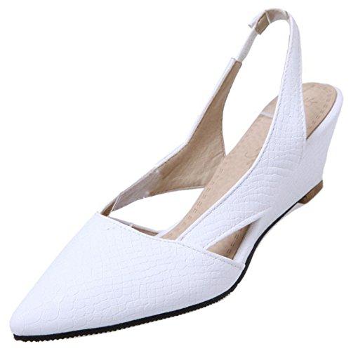 RAZAMAZA Mujer Moda Cerrado Puntiagudo Tacon de Cuna Sandalias Slingback Zapatos Blanco