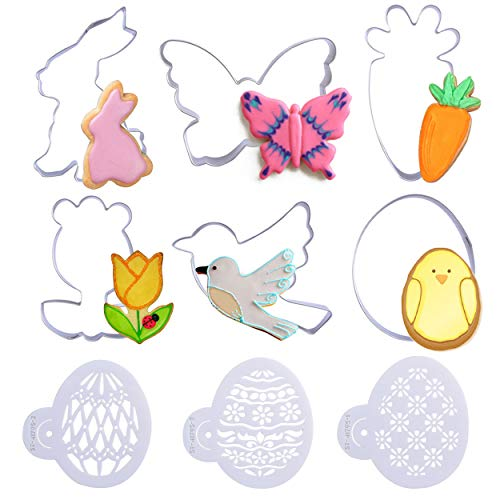 Easter Cookie Cutters Egg Bunny 6 PCS Stainless Steel Cake Biscuit Pastry Moulds Fondant Cutters and Molds for Baking Rabbit Carrot Bird Bunny Egg Flower Butterfly Decorations with - Carrot Cake Bunny