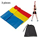 LEBE 11pcs Resistance Band Set with Door Anchor Attachment, Handles, Ankle Straps, 6.6 ft. Long Flat Resistance Bands 3 in 1 Set (Red+Yellow+Blue)