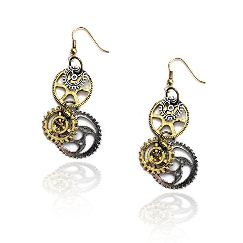 Joji Boutique Steampunk Collection: Antiqued Mix-Tone Gear & Cog Drop Earrings