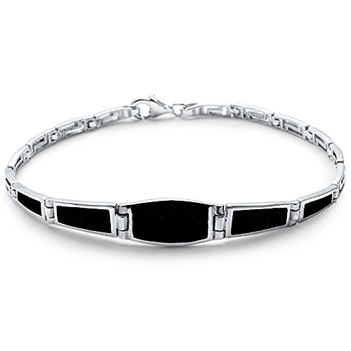 Sterling Silver Simple Black Onyx Filigree Bracelet
