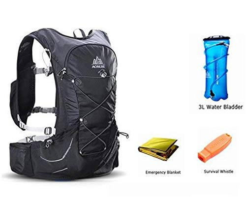 POJNGSN 15L Outdoor Light Weight Hydration Backpack Rucksack Bag Free 3L Water Bladder for Hiking Ultra Running Race Set Black 1 by POJNGSN (Image #1)