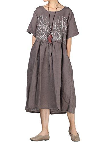 Mallimoda Damen Rundhals Kurzarm Langes Leinen Kleid Sommerkleid Grau  q5yN74Pm a4151d8b7e