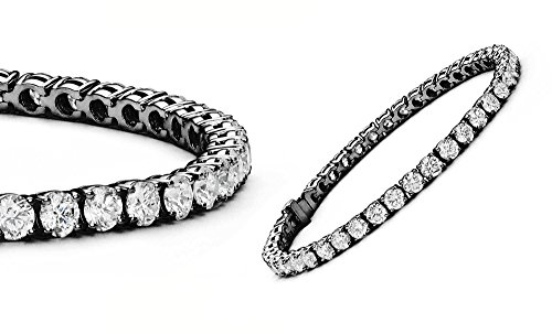 Black Diamond Fashion Bracelet (Cate & Chloe Olivia 18k Tennis Bracelet, Womens 18k Black Rhodium Tennis Bracelet w/Cubic Zirconia Crystals, 7.5