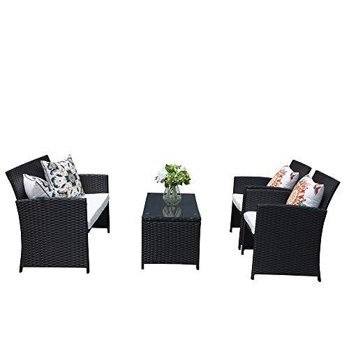 Cheap PATIOROMA 4 Piece Patio Set, Black Wicker Patio Furniture with White Cushion,2 Single Chair,1 Loveseat