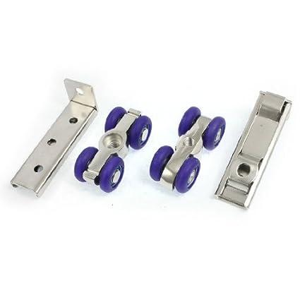 eDealMax 2 piezas de plata azul Tono 4 ruedas armario ropero puerta corrediza de juego de