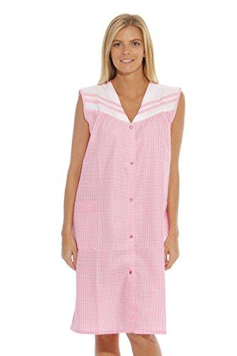 8930-Pink Throttle-3X Dreamcrest Sleeveless Duster / Housecoat / Women (V-neck Muumuu)