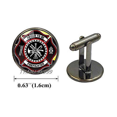 Yao0dianxku Fashion Gift for Firefighter Long Cufflinks Black Plated Fire Fighter Jewelry Glass Cuff Links Cufflinks.Y199
