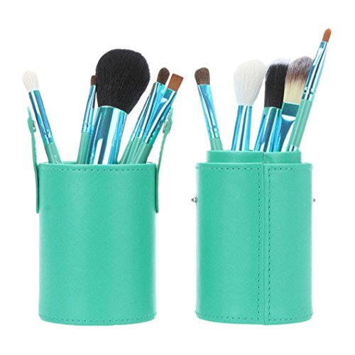 Creazy® PU Pound Makeup Brushes Holder Cosmetic Brush Container Cylinder Vessel (Green)