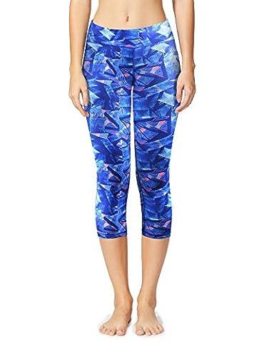 Baleaf Women's Tummy Control Workout Printed Yoga Capri Pants Hidden Pocket Geometrical Blue Size - Dyed Cotton Short
