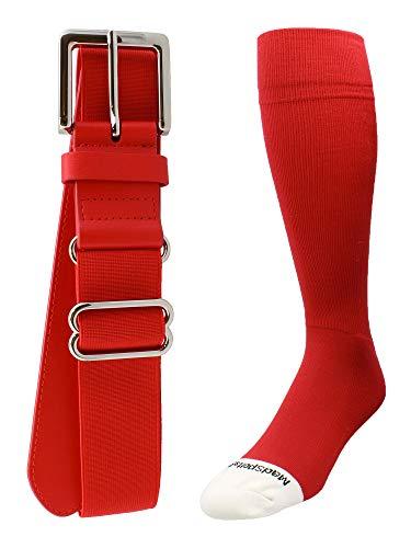 MadSportsStuff Pro Line Softball Socks and Belt Combo (Scarlet, Small)