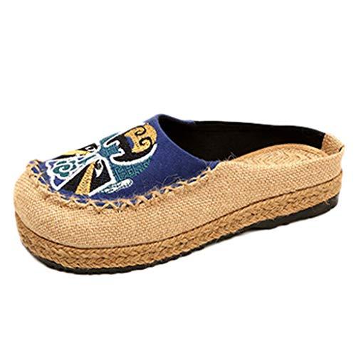 Panno 〖vovotrade〗moda Stile Etnico Libero Blu Il Per Donna Pantofole In Piattaforma Piatta Di Tonda Scarpe Pescatore Casual Tempo Lino qrOvqw4