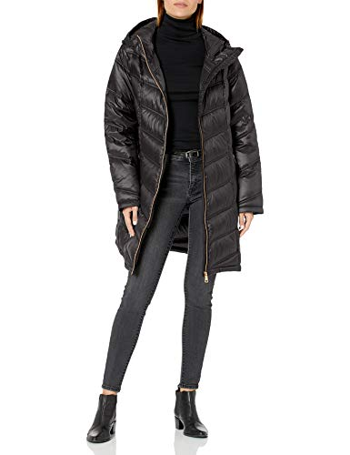 Calvin Klein Women's Hooded Chevron Packable Down Jacket (Standard and Plus), Black, Large