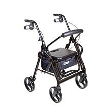 Drive Medical Duet Transport Wheelchair Rollator Walker, Black