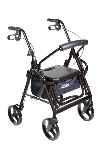 Drive Medical Duet Dual Function Transport Wheelchair Walker Rollator, Black by Drive Medical
