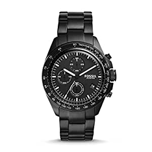 Fossil Men's Black Dial Stainless Steel Band Watch - CH3028
