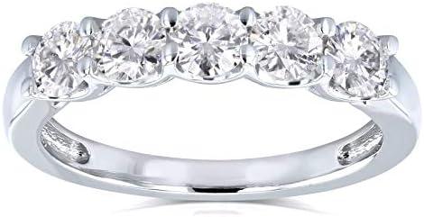 Kobelli Lab Grown Diamond 5-Stone Wedding Band 1 CTW 14k White Gold (DEF/VS)