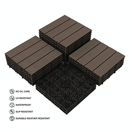 PANDAHOME 22 PCS Wood-Plastic Composites Patio Deck Tiles