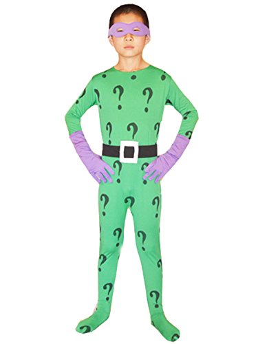 [Boys Batman Cosplay Halloween Kids Riddler Costume Lycra Bodysuit (XLarge, Green)] (Riddler Costume Amazon)