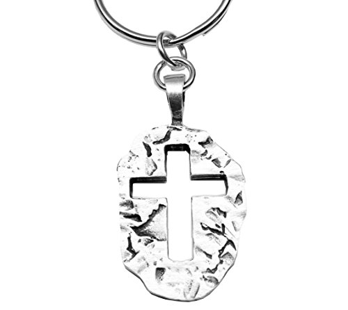 (Jesus Is My Rock Pewter Cross for Christ Keychain)