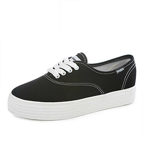 Zapatitos Blancos De Limpieza,Versión Coreana De Resorte, Suela Gruesa Plataforma Con Lona,Estudiantes Zapatos Deportivos C