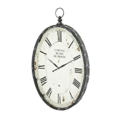 Deco 79 53306 Metal Wall Clock, 37x23