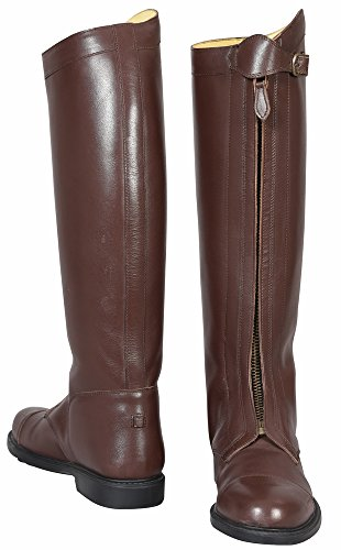 (TuffRider Polo Leather Tall Riding Boots Front Zip Mocha Width Regular (Horse Riding Equestrian))