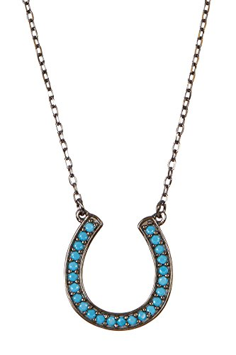 Turquoise and Sterling Silver Horseshoe Necklace