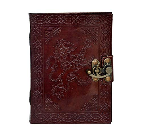 (Handmade Leather Journal Handmade Celtic Lion Head Newest Design Embossed Antique Design Notepad Blank Pages, Art Sketchbook, Diary & Writing Notebook 5x7 Inches)