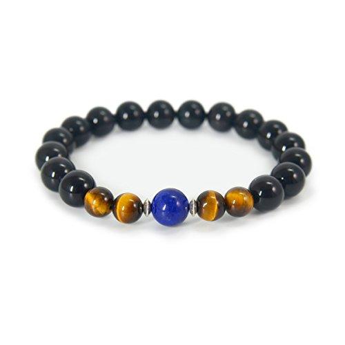 COLORFEY Mens Tibetan Healing Energy Genuine Gemstone Tiger Eye Lapis Lazuli Beads Black Buddha Bracelet