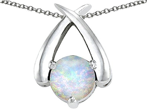 Star K XO Hug and Kiss Pendant Necklace with Round 7mm Created Opal Sterling Silver