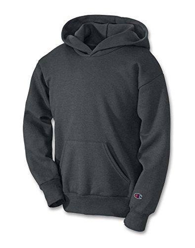 Champion Boys Big Powerblend Eco Fleece Pullover Hoodie, Charcoal Heather, M