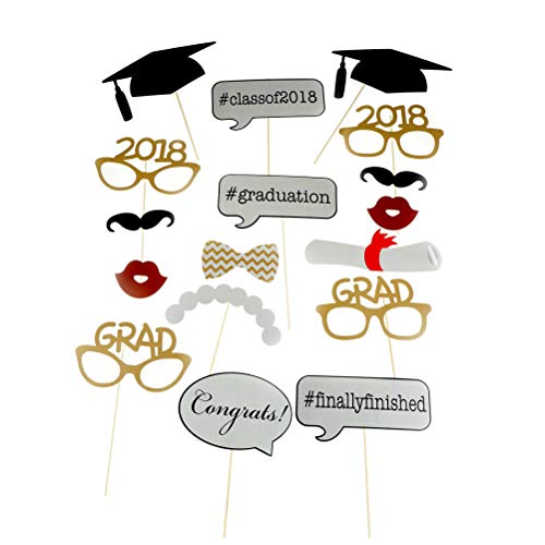 17PCS 2018 Graduation Grad Party Masks Photo Booth Props Mustache On A Stick by 7-gost -