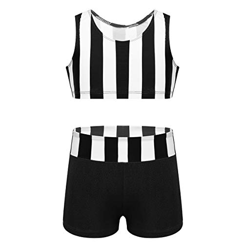 YiZYiF Kids Girls Basic 2 Piece Active Outfit Crop Top and Shorts Set for Gymnastics/Dancing/Workout (Zo Striped Black, 5-6) (Outfits Active Girls)