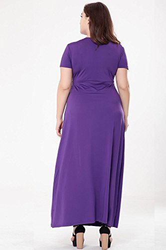 Cintura Del La Del Largo Mujeres amp; XIAOLI Xxxl Verano Corta Vestido De De Puro Color Purple Cuello Las V Del wXROwqvI