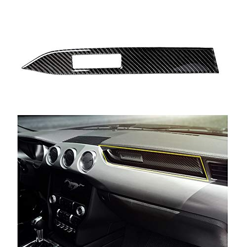 Trim Panel Center (Thor-Ind Carbon Fiber Passenger Copilot Seat Dashboard Cover Trim Frame Strip for Ford Mustang Interior Trim Center Console Panel Sticker)