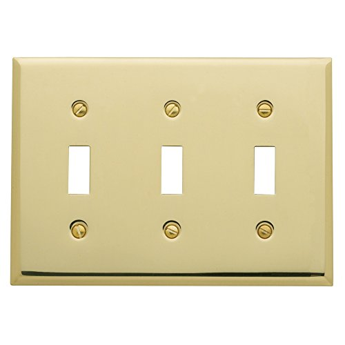 Baldwin Estate 4770.030.CD Square Beveled Edge Triple Toggle Switch Wall Plate in Polished Brass, 4.5
