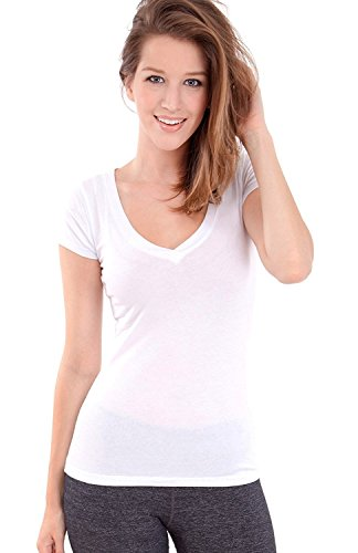 Active Basic Women's Plain Basic Deep V Neck T-Shirt with Cap - T-shirt Cap Sleeve V-neck
