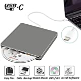 External CD DVD Drive NOLYTH USB C Superdrive DVD CD +/-RW Burner Player Rewriter Drive for Macbook Pro/Air/Apple/PC/Laptop/Windows10 OSX(Grey)