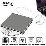 External CD DVD Drive NOLYTH USB C Superdrive DVD CD +/-RW Burner Player Rewriter Drive for Macbook Pro/Air/Apple/PC/Laptop/Windows10 OSX(Grey)