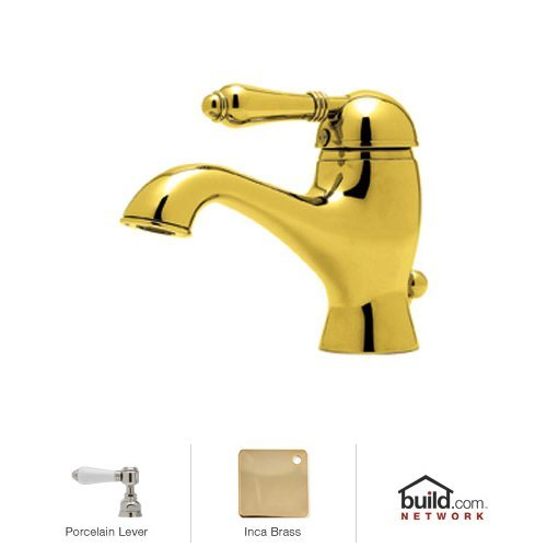 Rohl A3402LPIB-2 Country Bath Bathroom Faucet with Porcelain Lever Handle and Pop-up, Inca Brass
