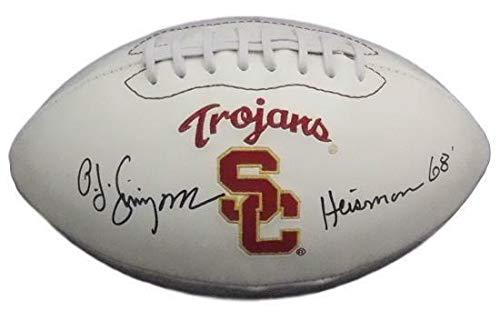 - OJ Simpson Autographed USC Trojans White Logo Football Heisman 68 JSA
