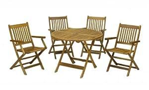 Madera de Acacia de madera juego de Patio 5piezas Jardín mesa y sillas Nuevo