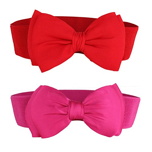 Nanxson(TM) Women Wide Elastic Waist Belt Fashion Decorative Waist Band with Bowknot PDW0028