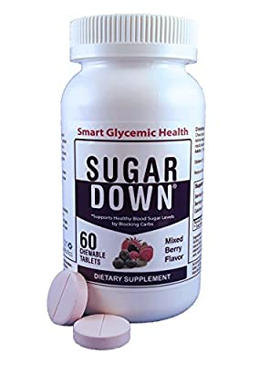 SugarDown Blood Sugar Support. Naturally Block Carbs. 1 Bottle. 60 Chewable Tablets. Mixed Berry Flavor.