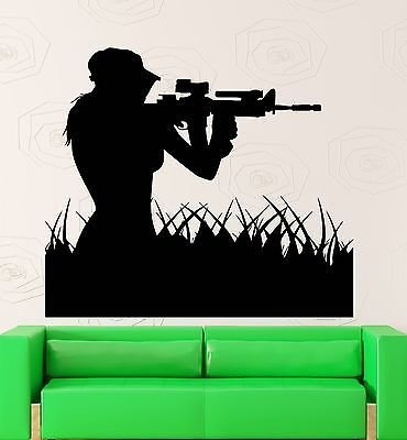 Wall Stickers War Military Air Force Marines Soldiers Girl Sniper Decal VS2420
