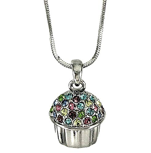 - DianaL Boutique Silver Tone Adorable Cupcake 3D Pendant Necklace 21